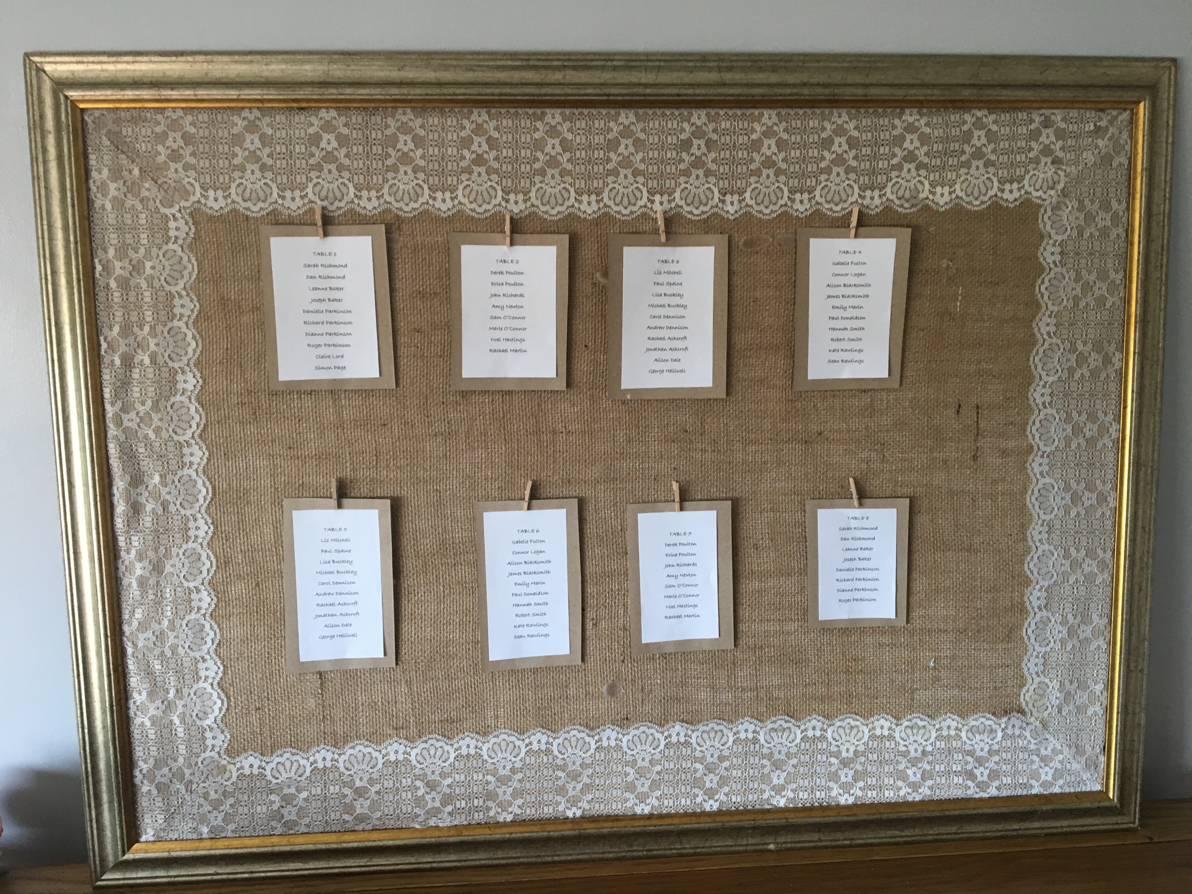 Hessian and lace frame for wedding seating plan