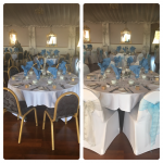 Before and after, white chair covers with silver and Tiffany blue sashes, ball, awards ceremony, Rendezvous Hotel, Skipton