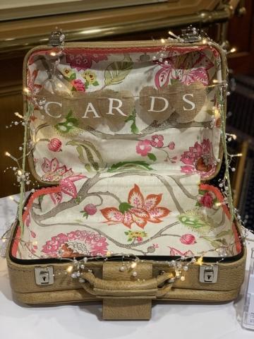 Vintage suitcase for wedding cards, blankets, flip flops, wedding prop