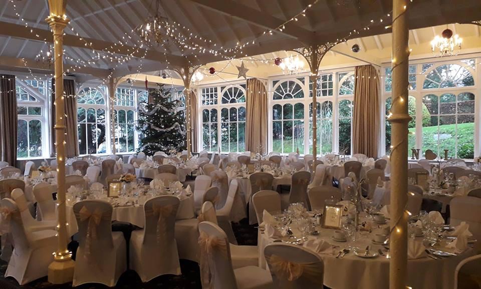 Christmas wedding Old Swan, Harrogate, white chair covers