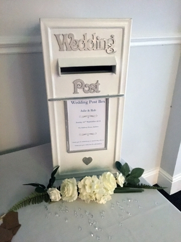 White lockable wedding post box for cards, personalised label
