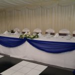 Wedding reception with white chair covers. top table swagging, Halfway House, Baildon
