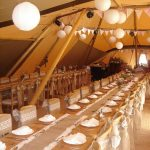 Tipi wedding, hessian and lace sashes, table runners, long tables