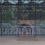 Yellow and grey wedding, Utopia Broughton Hall, white chair covers, grey taffeta bows