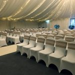 Hessian and lace sashes over white chair covers, rustic wedding ceremony at Halfway House, Baildon