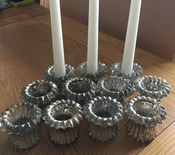 Silver-look candle sticks for centrepiece