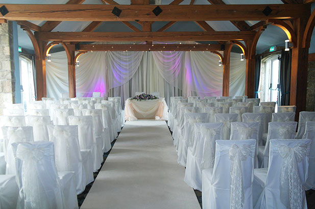 White lace wedding, white loose cotton chair covers, Coniston 1hotel