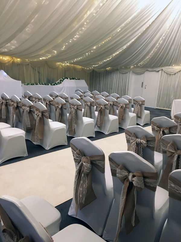 White chair covers with hessian and lace sashes, wedding ceremony, Halfway House, Baildon