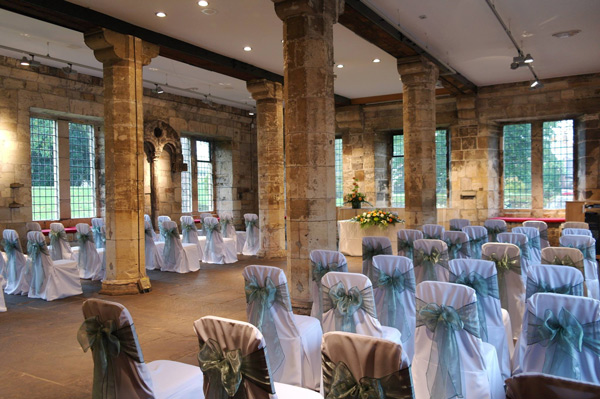 White loose cotton wedding chair covers, Hospitium York