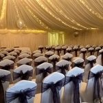 White lycra chair covers for wedding ceremony, Halfway House, Baildon