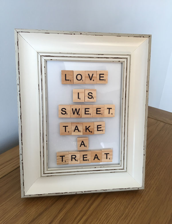 Photo frame sign, love is sweet, take a treat, sweetie table, scrabble sign for wedding