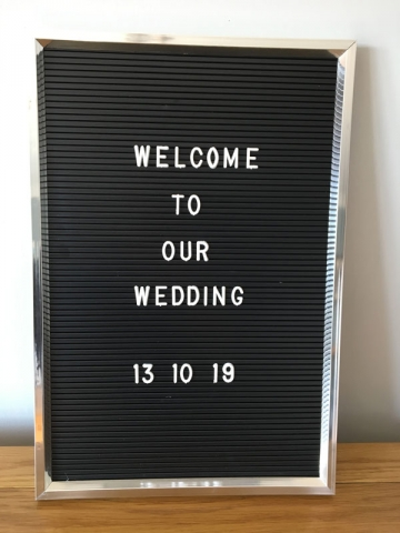 Silver retro board for wedding or party, wedding sign