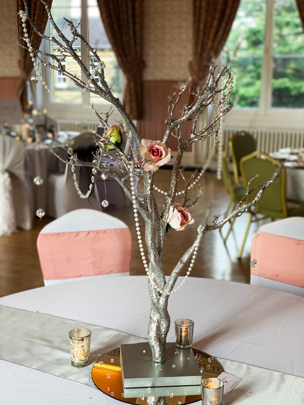 Silver twig tree wedding or party centrepiece, with mirror, votives, beads and flowers